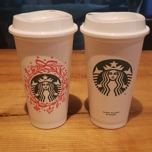 Reusable Starbucks travel mugs - set of 2